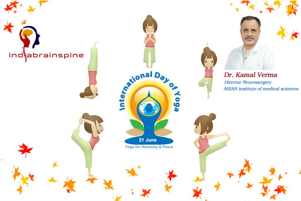 """images of 5 girls demonstrating different postures of Yoga Day"